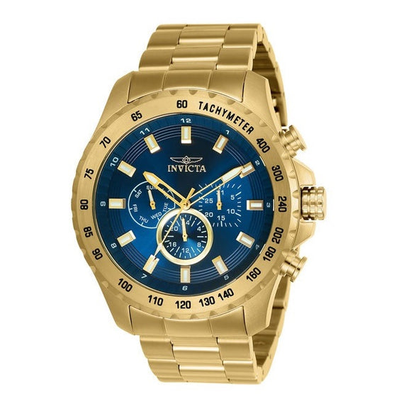 Invicta 24213 Speedway Gold Blue Dial Chronograph Stainless Steel