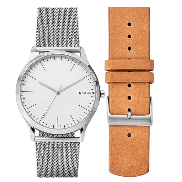 Skagen SKW1092 Jorn Silver Stainless Steel Mesh Band White Dial