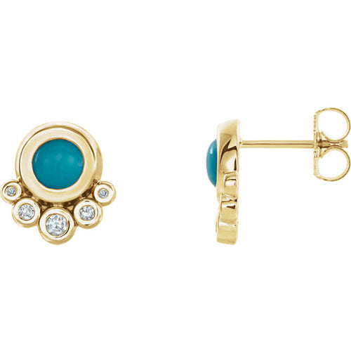 14k Gold Turquoise and Diamond Earrings - Lireille
