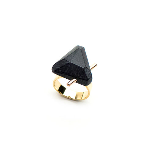 Black Gold Trilateral Ring - Lireille