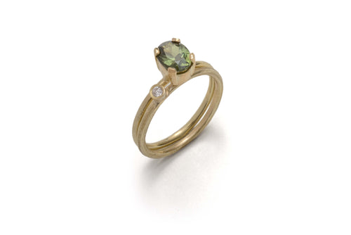 18k Yellow Gold Sapphire Claw Diamond Engagement Ring - Lireille