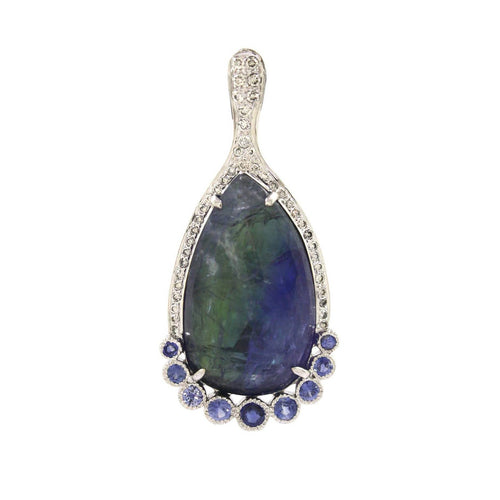 18k White Gold Bicolor Tanzanite Pendant