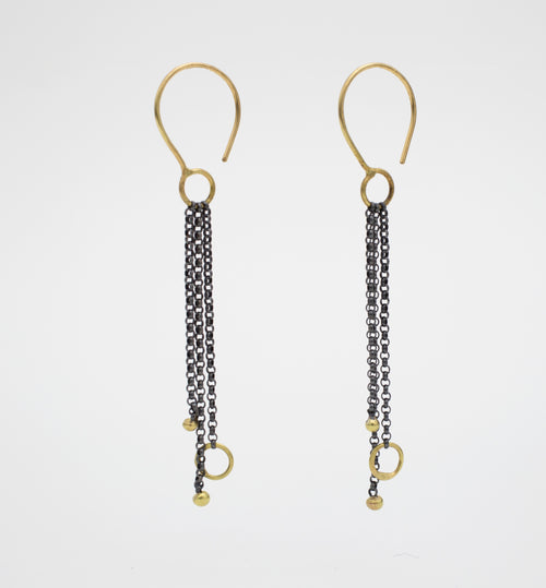 18k Gold and Oxidized Silver Chain Earrings - Lireille