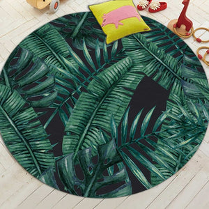 Green Tropical Round Rugs