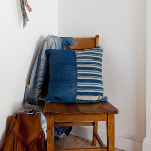 Denim and Vintage Stripe Pillow w/ Buffalo Button Closure by Amber Seagraves