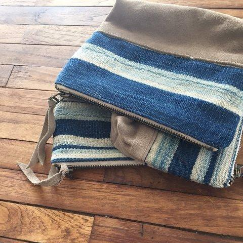 Vintage and Denim Zip pouch by Amber Seagraves