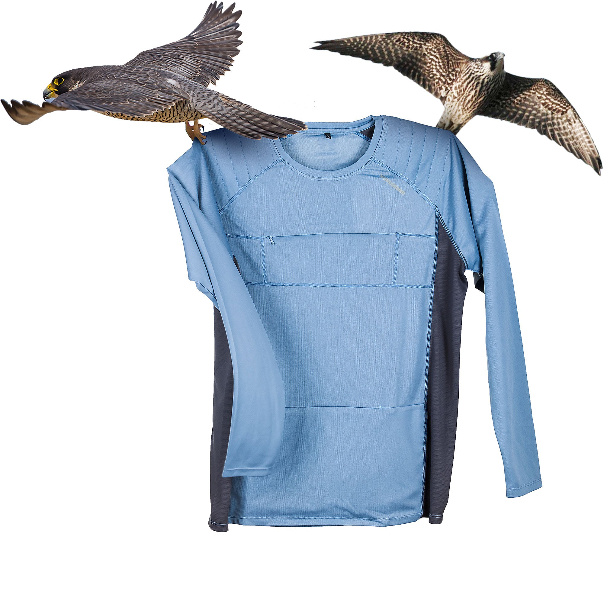 The Peregrine Long Sleeved Tee - blue.  A birdwatching clothing gem.