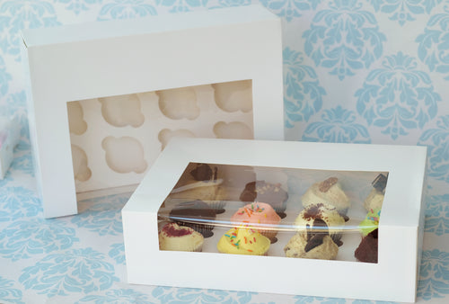 "Cupcake Box White 12 Holes *4"" Height* (25 pcs)"