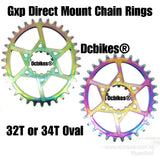 Oil Slick 32T/34T GXP Titanium-Plated Oval MTB Narrow Wide Direct Mount Chain Ring For Sram X9 NX GX X01 XX1