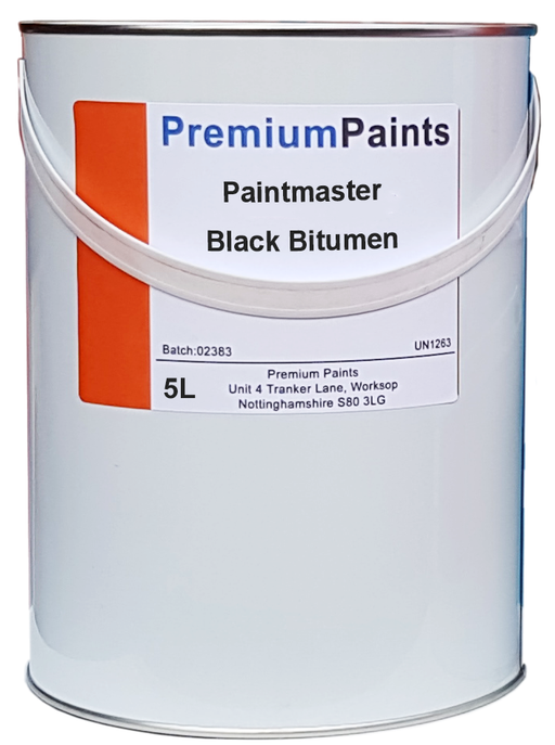 Paintmaster - Heavy Duty Black Bitumen Paint - 5 Litre - Waterproofer - PremiumPaints