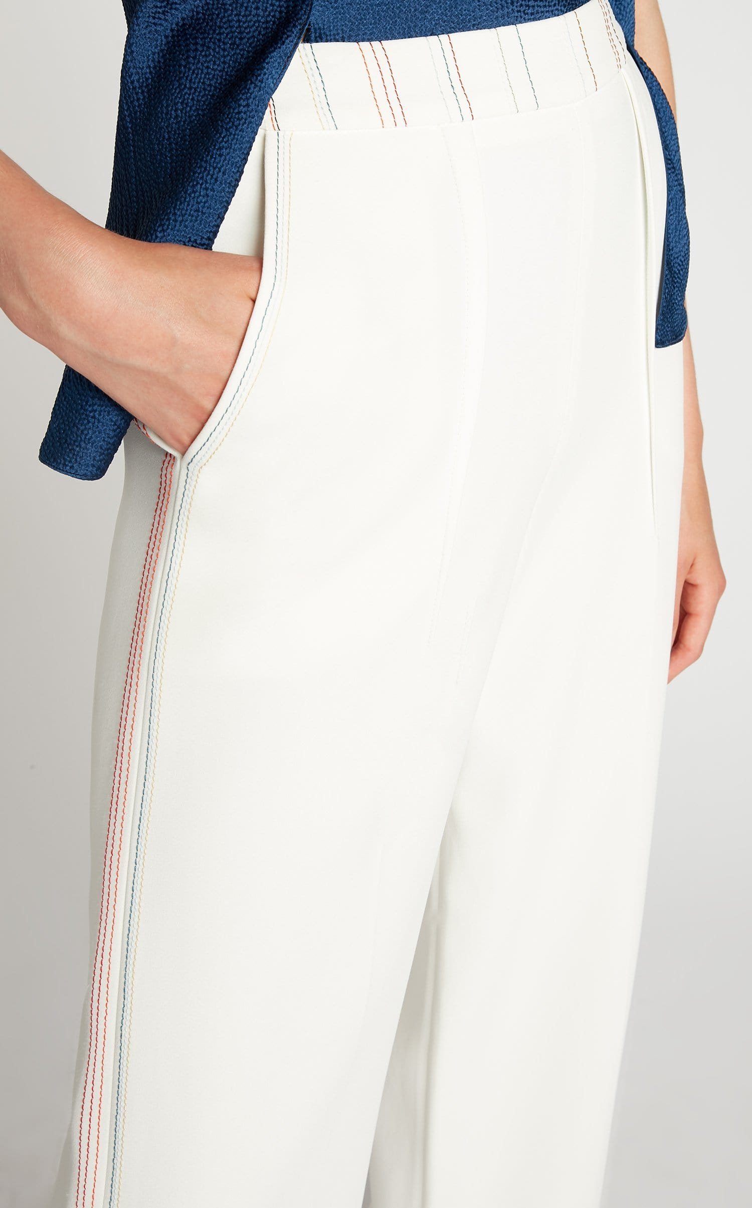 Groves Trouser In White Multi from Roland Mouret