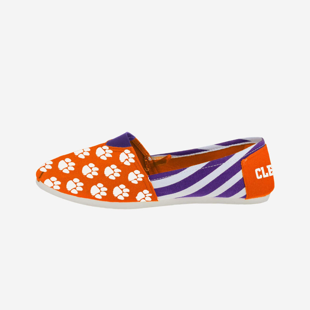 Clemson Tigers Womens Stripe Canvas Shoe FOCO - FOCO.com
