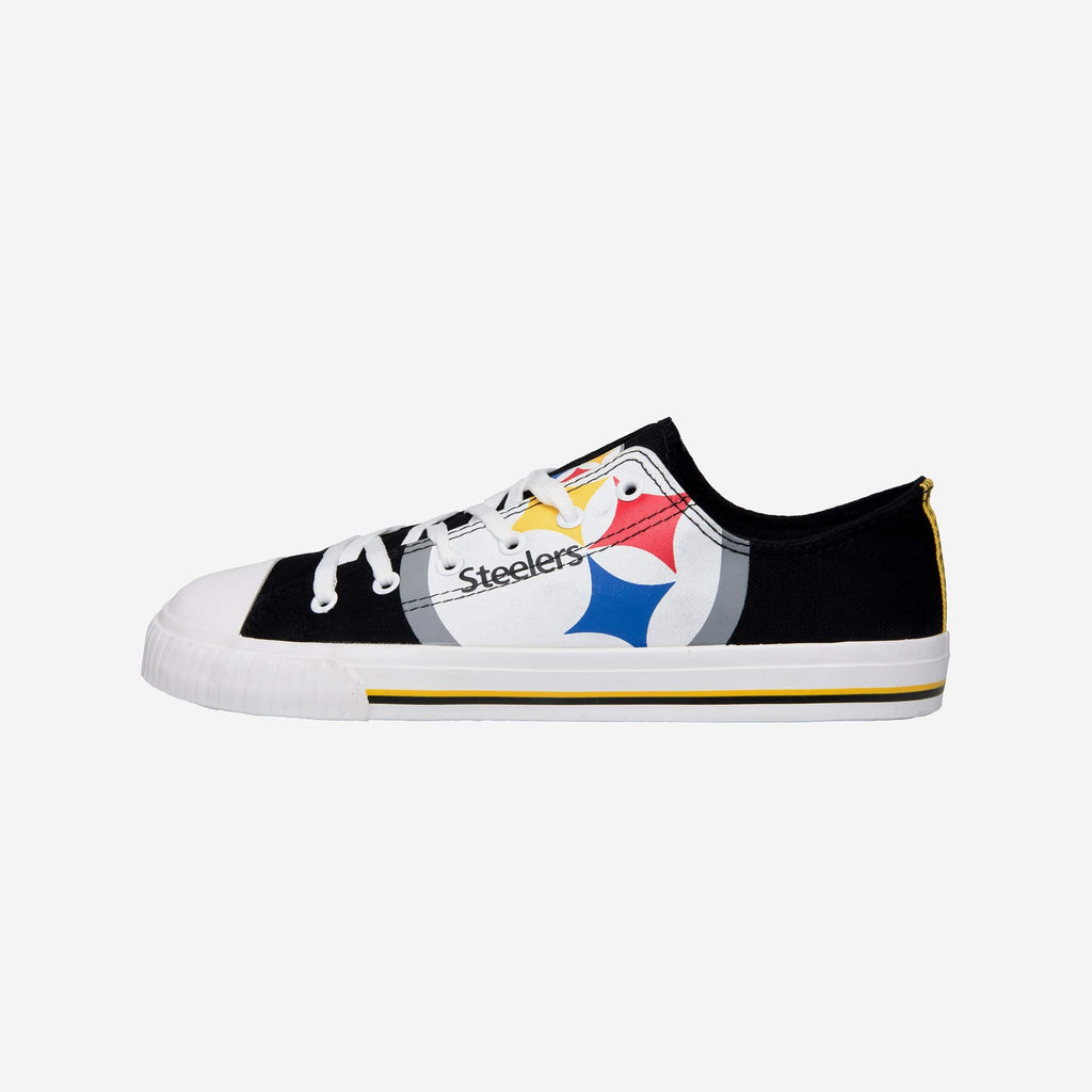 Pittsburgh Steelers Mens Low Top Big Logo Canvas Shoe