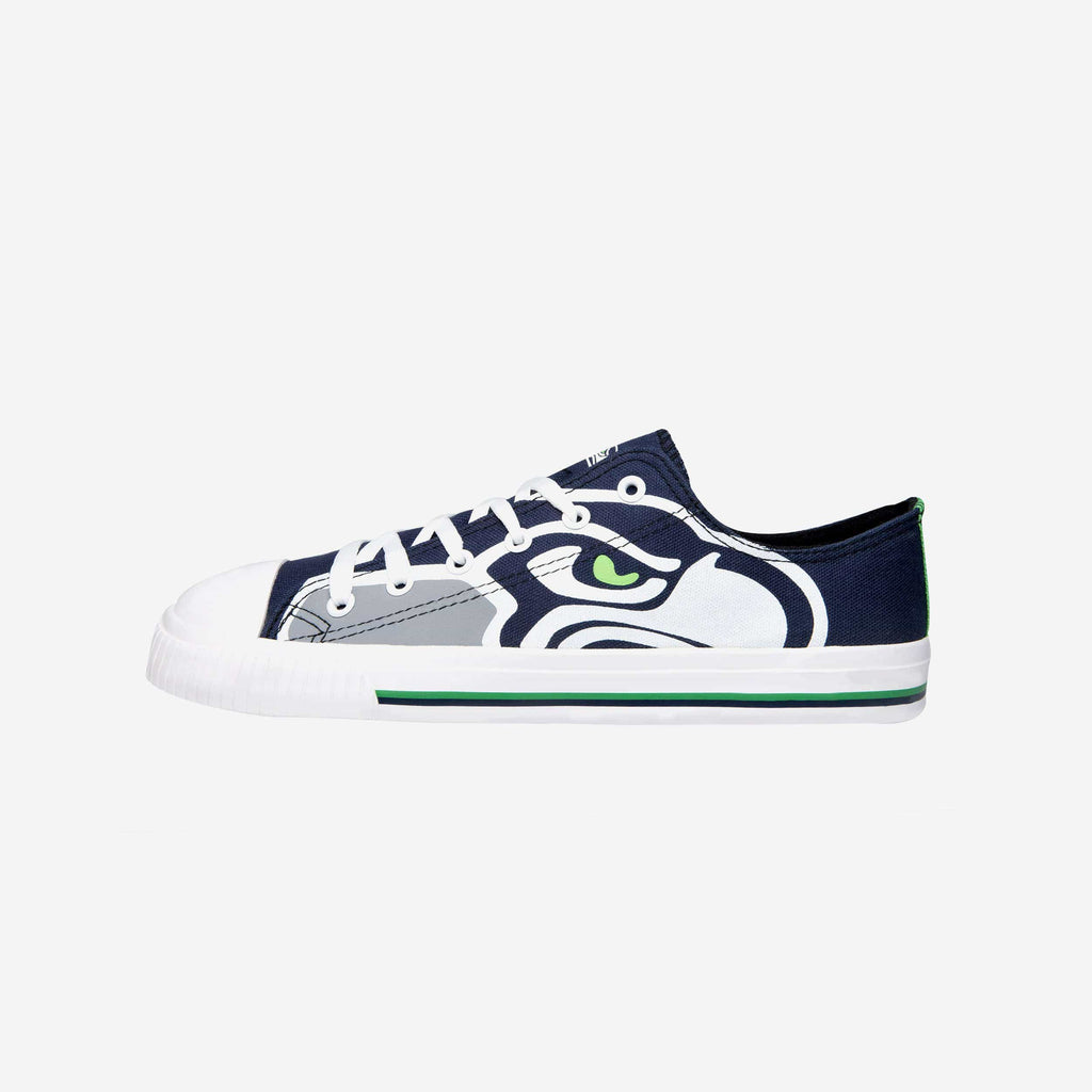 Seattle Seahawks Mens Low Top Big Logo Canvas Shoe