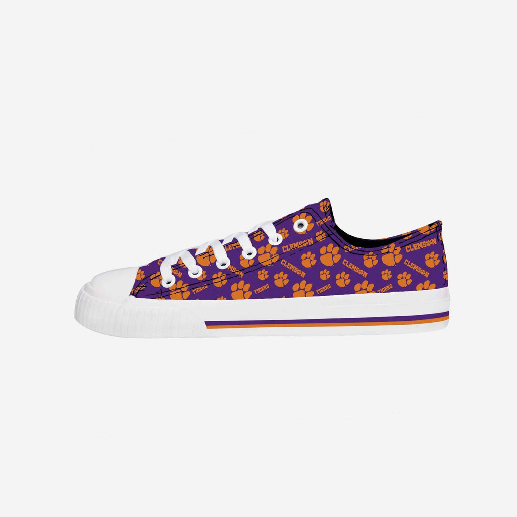 Clemson Tigers Womens Low Top Repeat Print Canvas Shoe FOCO - FOCO.com