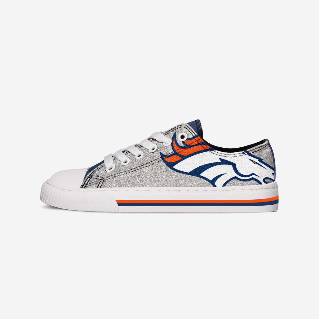 Denver Broncos Womens Glitter Low Top Canvas Shoe