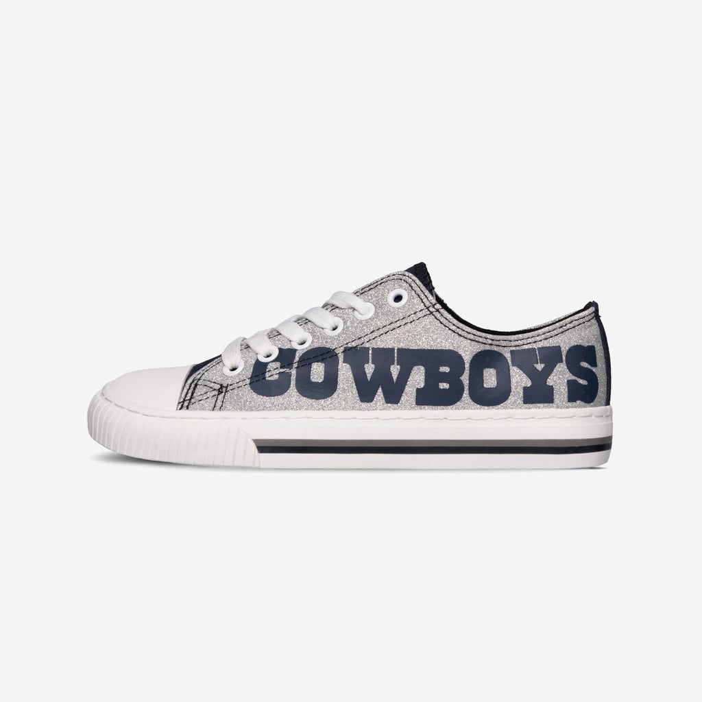 Dallas Cowboys Womens Glitter Low Top Canvas Shoe