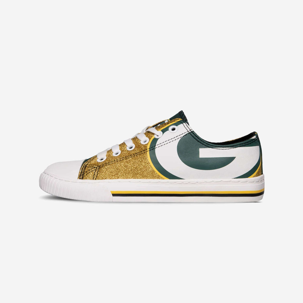 Green Bay Packers Womens Glitter Low Top Canvas Shoe