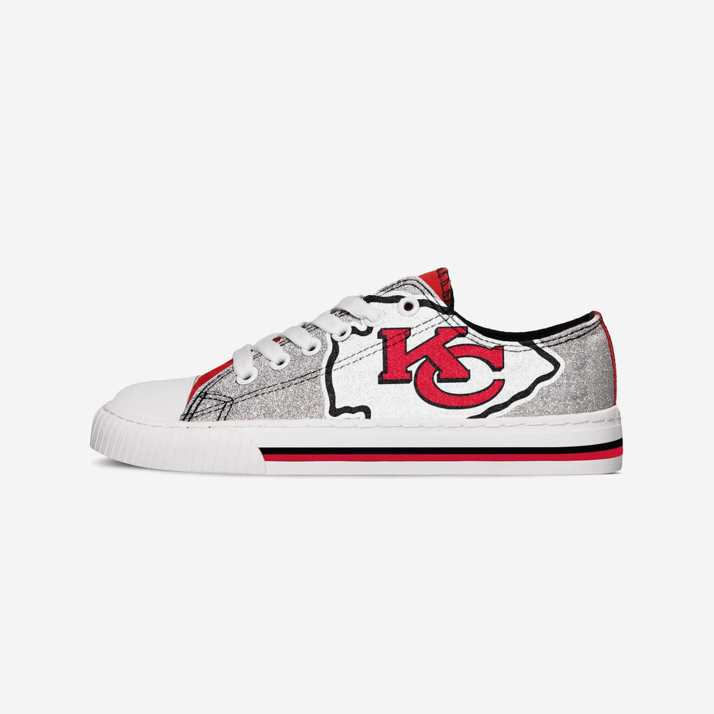 Kansas City Chiefs Womens Glitter Low Top Canvas Shoe