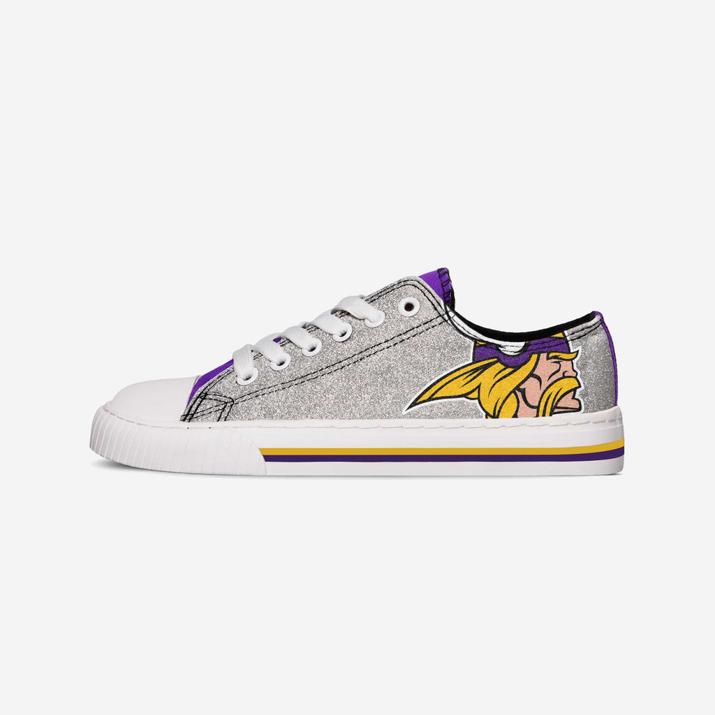 Minnesota Vikings Womens Glitter Low Top Canvas Shoe