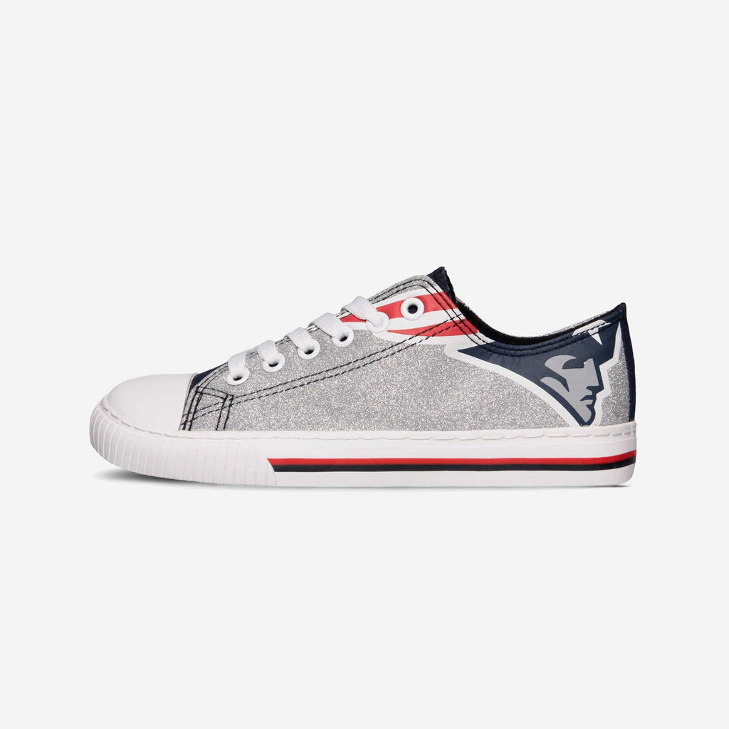 New England Patriots Womens Glitter Low Top Canvas Shoe
