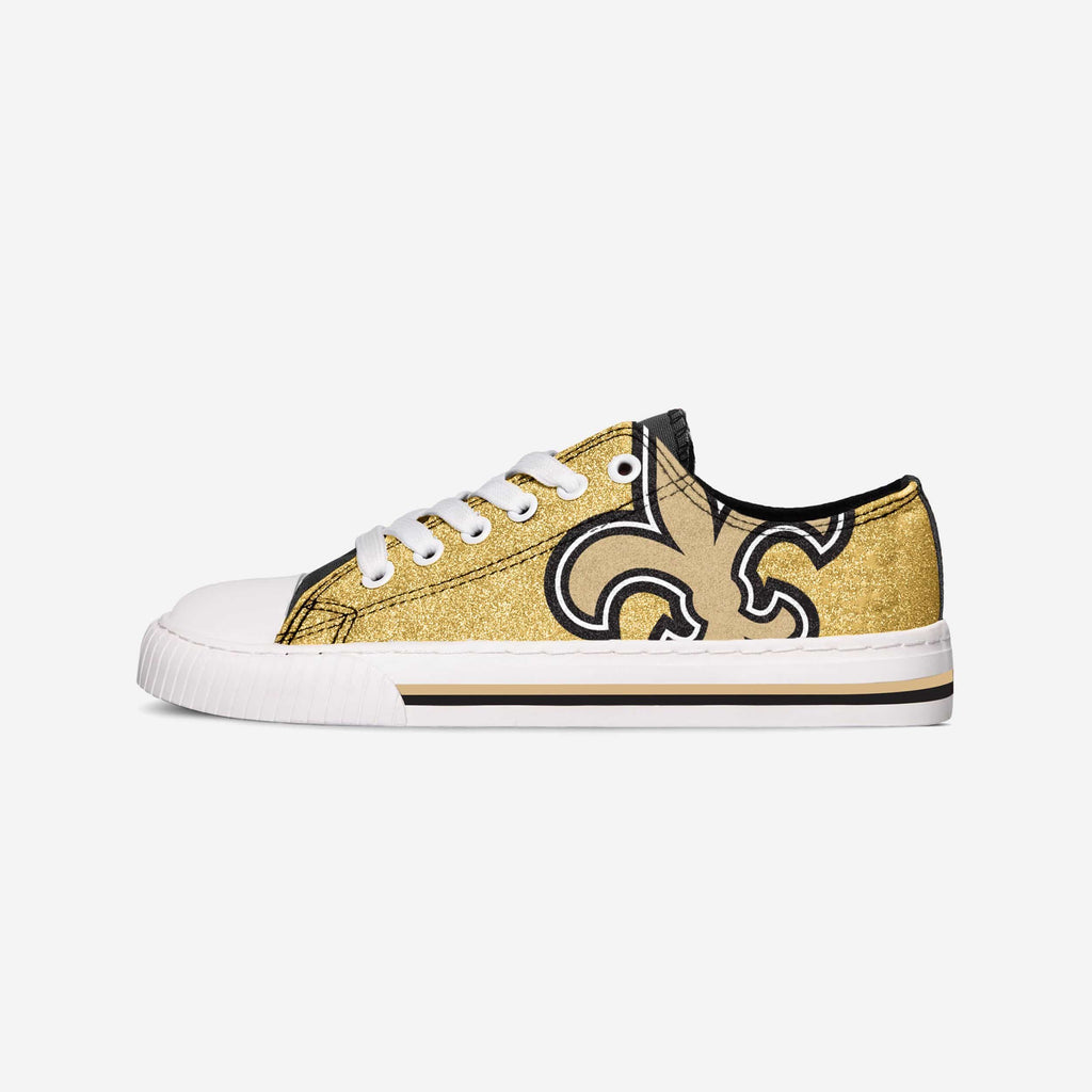 New Orleans Saints Womens Glitter Low Top Canvas Shoe