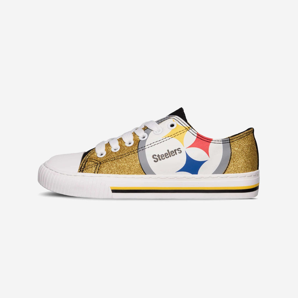 Pittsburgh Steelers Womens Glitter Low Top Canvas Shoe