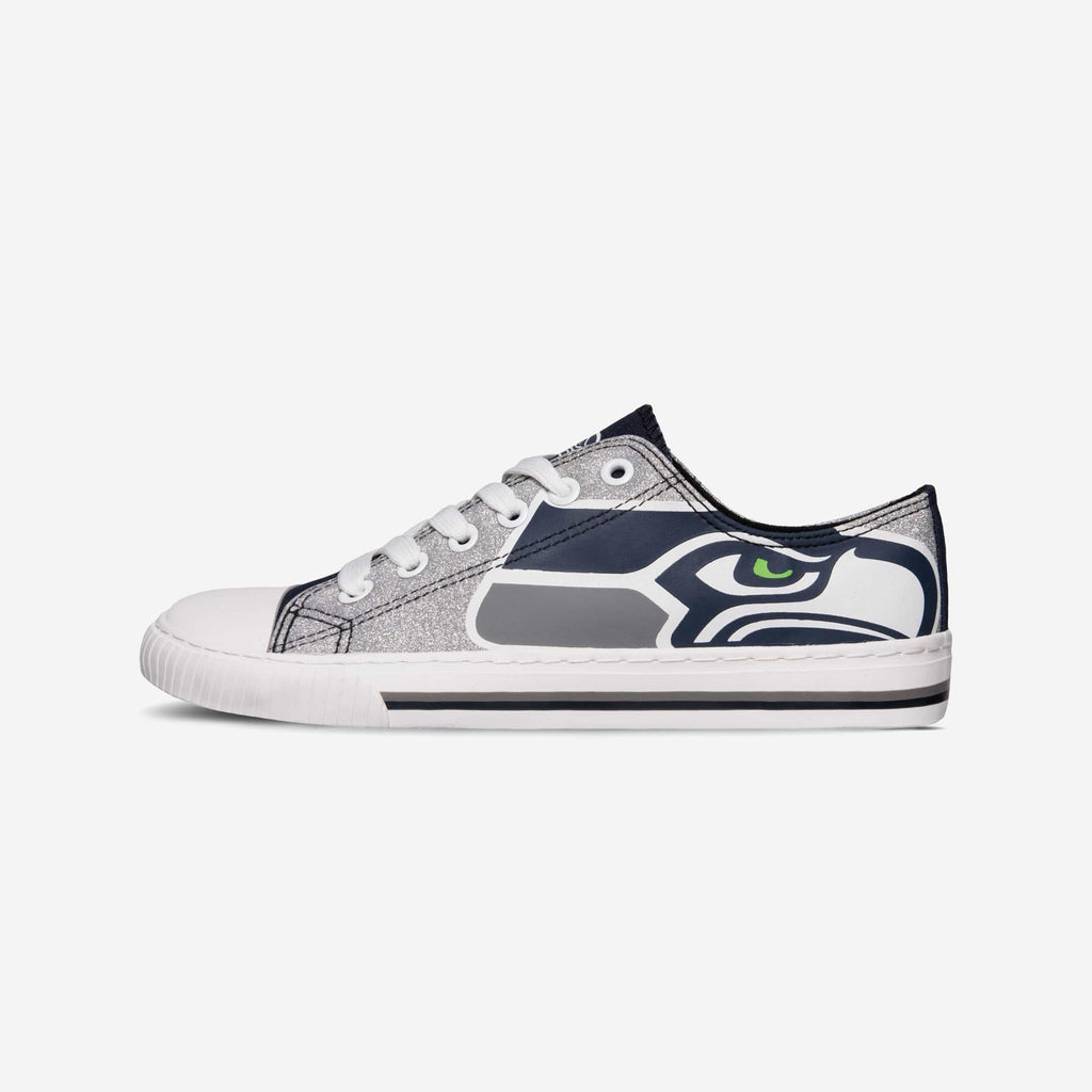 Seattle Seahawks Womens Glitter Low Top Canvas Shoe