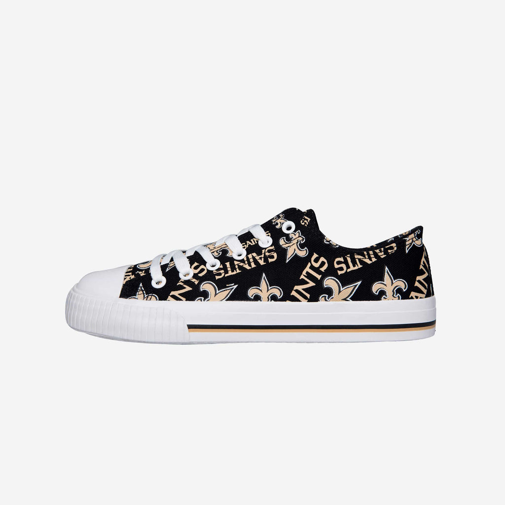 New Orleans Saints Womens Low Top Repeat Print Canvas Shoe