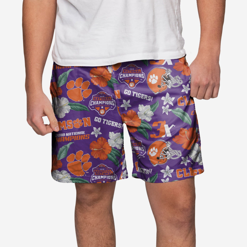 Clemson Tigers 2018 Football National Champions Floral Swimming Trunks FOCO S - FOCO.com