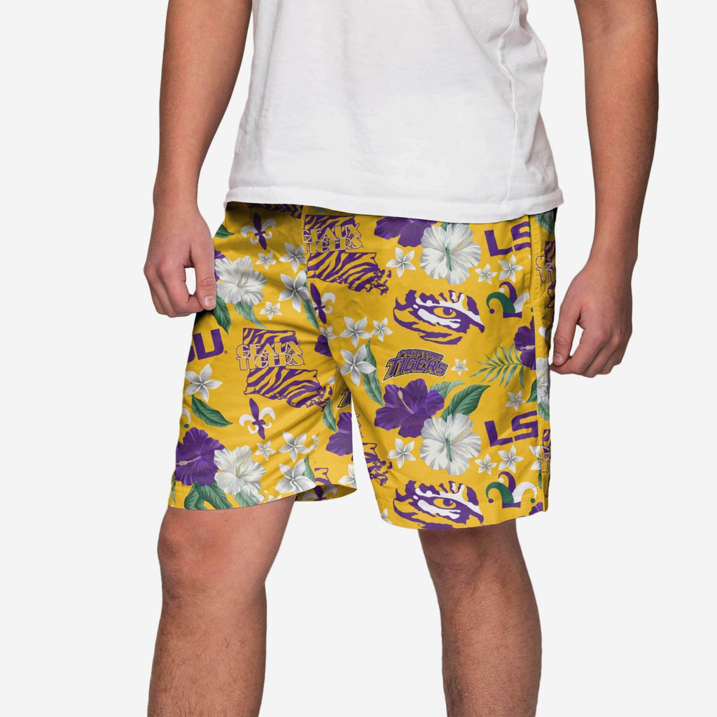LSU Tigers City Style Swimming Trunks FOCO S - FOCO.com