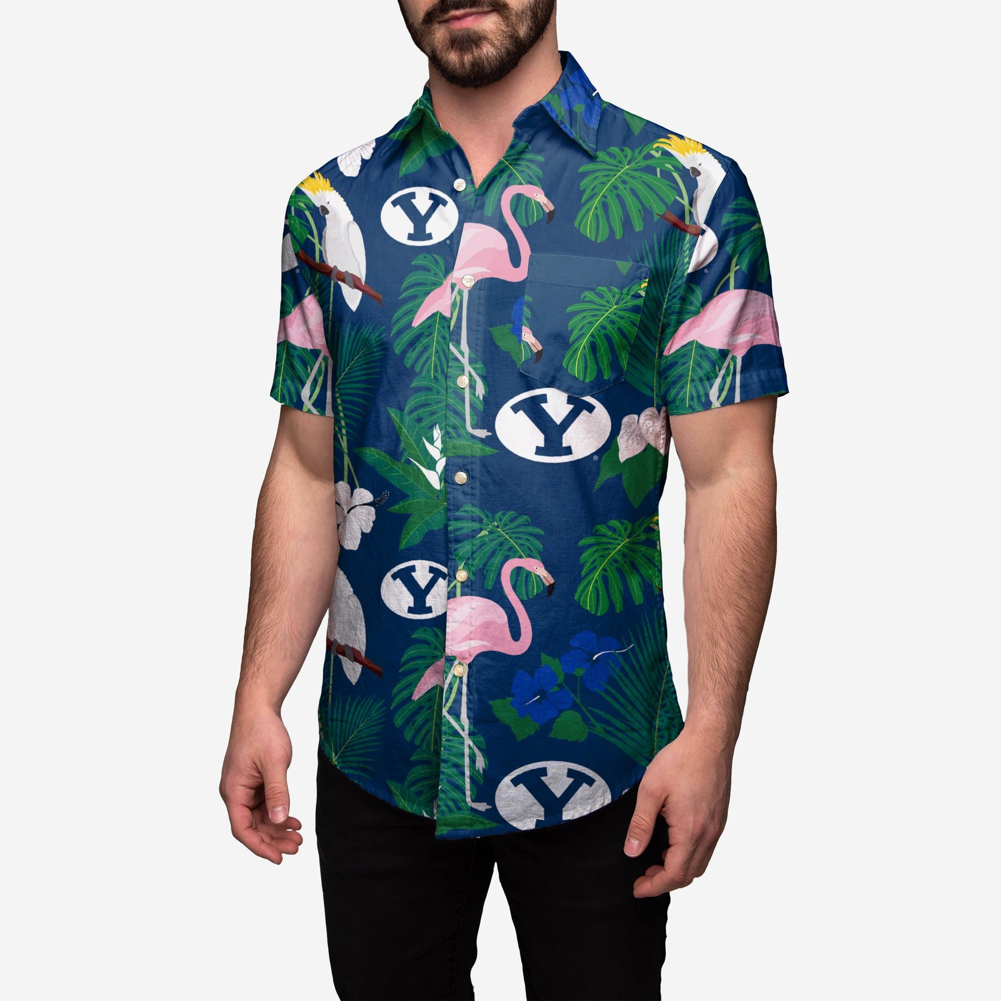 BYU Cougars Floral Button Up Shirt FOCO 2XL - FOCO.com
