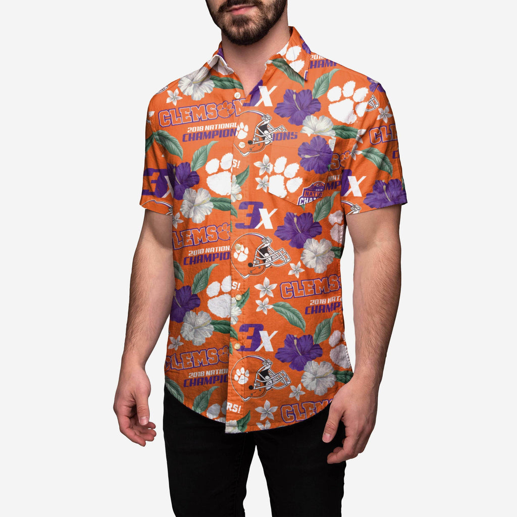 Clemson Tigers 2018 Football National Champions Floral Button Up Shirt FOCO S - FOCO.com
