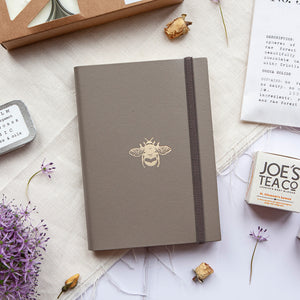 Sustainably produced recycled leather handmade notebook.