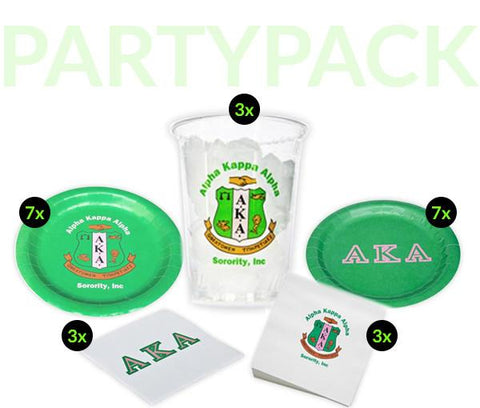 AKA - Alpha Kappa Alpha - Party Pack (Clear Cups)