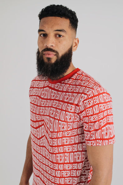 All Over Print Summer Set T-Shirt - Red