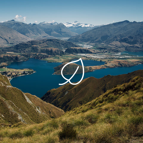 New Zealand Scenery with Leaf Icon