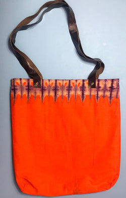Orange Capulana and Leather Tote Bag