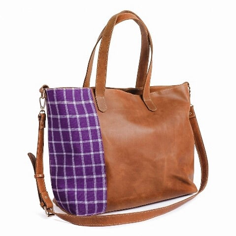 Purple Hatch Weekender Leather Tote