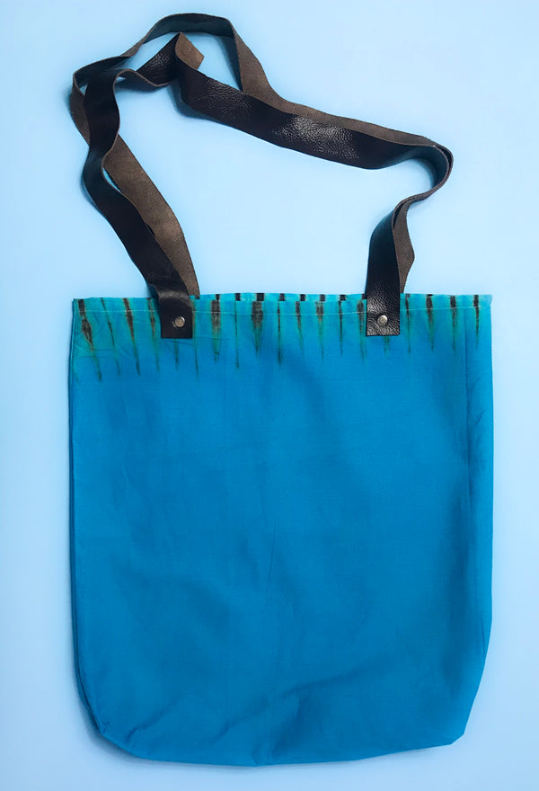 Blue Capulana and Leather Tote Bag