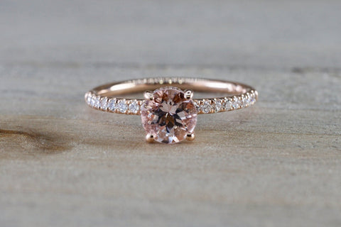 14k Gold Round Morganite Diamond Under Halo Ring Anniversary Engagement ASP010002