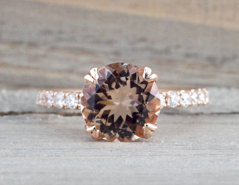 14k Rose Gold Diamond Round Peach Pink Morganite Solitaire Engagement Promise Love Anniversary Ring 9mm
