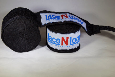 180 Inch Mexican Style Wrinkle Resistant Hand Wraps - Black - Lace N Loop