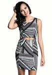 Aztec Keyhole Print Dress