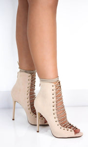 Nude Suede Lace Up Booties