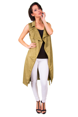 Faux Suede Sleeveless Olive Trench Coat
