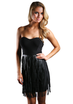 Fringe Strapless Black Dress