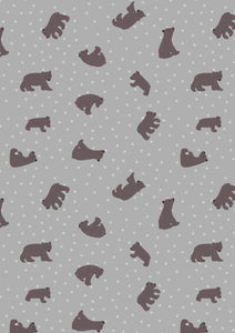Starry Bear in Grey, Bear Hug Collection for Lewis and Irene, Weave and Woven