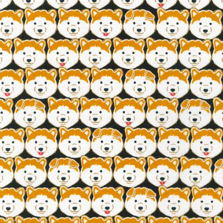 Shiba Inu on Black Cotton Dobby Fabric | Weave and Woven