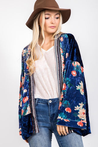 Floral and Velvet Kimono - Adventurista Boutique